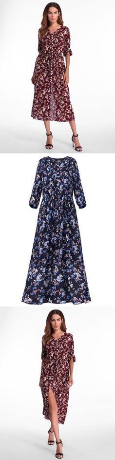 Gracila bohemian floral printed loose 3/4 sleeve maxi dresses floral dresses 90s style #floral #50s #dresses #uk #floral #dresses #bodycon #floral #dresses #macys #floral #dresses #walmart