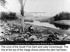 The ruins of the South Fork Dam and Lake Conemaugh. The line at the top of the image shows where the dam had been.