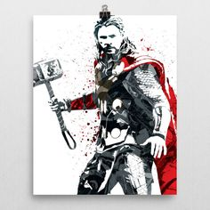 Thor poster. Thor is a fictional superhero appearing in American comic books published by Marvel Comics. The character, based on the Norse mythological deity of the same name, is the Asgardian god of