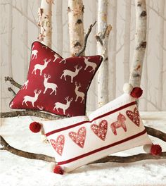 Reindeer, hearts (& dala horse!) pillows