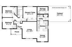 Traditional House Plan - Mattson 30-195 - Floor Plan ...... but with the 2 bedrooms made into one large room w/a walk-in closet