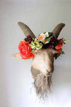 Handmade hessian goat with flower headdress. Jute farm animal fauxidermy head with flower crown by charactersbyjulia on Etsy