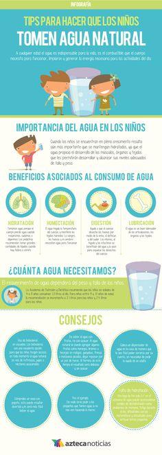 Tips para hacer que los niños tomen agua natural #infografia