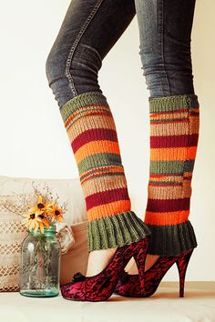 Knit Leg Warmers Knit Boot Socks Adult Legwarmers Womens Striped Leg Warmers Knee High Leg Warmers Cranberry, Brown, Forest Green, Carrot. $35.00, via Etsy.