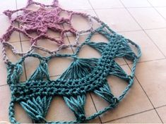 New Ipponbari swatches & Yarn samples : ~ Izumi's Knitting Notes ~ Hairpin Lace Patterns, Hairpin Lace Crochet, Crochet Motif, Free Crochet, Broomstick Lace, Hair Pins, Swatch, Crochet Necklace, Tutorials