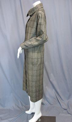 Vintage Blassport Bill Blass 1970s Black and White Plaid wool Cocoon shirt dress with high neck from Recursive Chic @ recursivechic.com