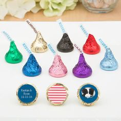 Add a colorful touch to your tables with delicious creamy chocolates from our Premium Personalized Hershey's® Kisses® Range. Add a unique sticker to match the theme of your special occasion! Edible Favors, Edible Wedding Favors, Party Favors, Personalized Baby Shower Favors, Silver Anniversary, Hershey Kisses, Shower Gifts, Special Occasion, Drop Earrings