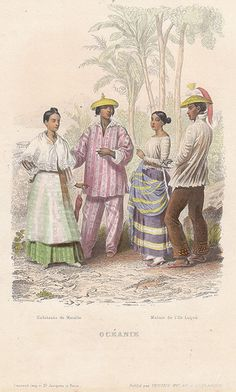"""Habitants de Manille"", from the Parisian world gegraphy book by Dufour Mulat Boulanger, Philippines Outfit, Philippines People, Philippines Cities, Visit Philippines, Philippines Fashion, Philippines Culture, Filipino Art, Filipino Culture, Islands"