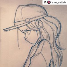 Drawing Reference Photos Anna Cattish Ideas For 2019 Girl Drawing Sketches, Girly Drawings, Art Drawings Sketches Simple, Pencil Art Drawings, Cartoon Drawings, Cartoon Art, Drawing Ideas, Drawing Drawing, Disney Drawings