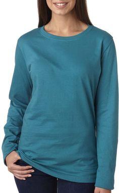 la t ladies' combed ring-spun jersey long-sleeve t-shirt - teal (l)