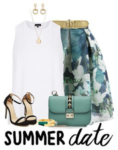 Summer Date: Rooftop Bar by angelysty on Polyvore featuring Warehouse, Chicwish, Valentino, Sole Society, Gucci, NLY Accessories, Prada, summerdate and rooftopbar