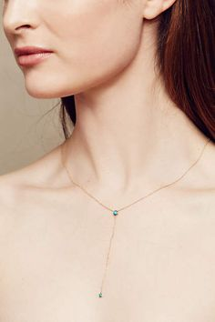 Turquoise Lariat Necklace in 14k Gold - anthropologie.com