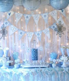 Snow Fairy Winter Wonderland Party Decorations - Banners, Cupcake Toppers and More - Blue Fai . - Snow Fairy Winter Wonderland Party Decorations – Banners, Cupcake Toppers and More – Blue Fair - Disney Frozen Party, Winter Birthday Parties, Frozen Birthday Party, Happy Birthday, Birthday Ideas, Winter Parties, Birthday Decorations, Frozen Kids, Cupcake Decorations