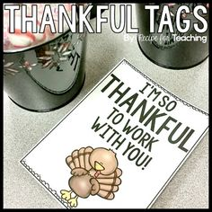 Thankful TagsHappy Thanksgiving!!Use these tags to show students, coworkers, and volunteers that you are thankful for them this Thanksgiving season!  Included are color and black and white versions for different printing options.Check out these other teacher gift tags:Teacher Gift TagsBe the first to know about my new discounts, freebies and product launches:       Look for the green star next to my store logo and click it to become a follower.