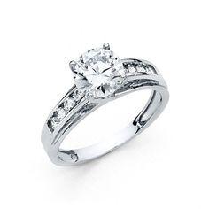 3 Ct Round Brilliant Cut Engagement Wedding Ring Trellis Solid 14K White Gold