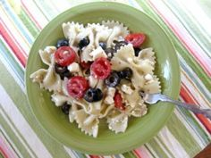 A quick and easy pasta salad.  Add chicken to make it a main dish and serve with crusty garlic bread.