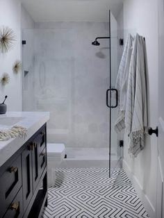 Black-and-White Bathroom is Contemporary Chic | HGTV