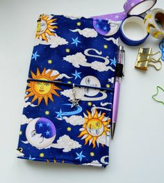 In Stock- Fabric Cover Fauxdori -  The Sun and the Moon and Stars, Travelers…