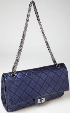 #Chanel Special Reissue Dark Metallic Blue Double  Flap Bag #heritageauction
