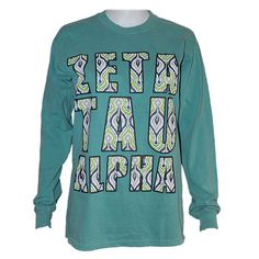 Rock your Zeta colors in this Comfort Colors brand, long sleeve Zeta Tau Alpha T-shirt with a fun Ikat print.