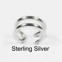 Sterling Silver Ear Cuff Double Band by ShutUpAndCuffMe on Etsy