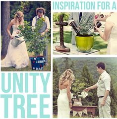 What a cute idea! Instead of a unity candle or sand - have a unity tree with soil from each of your childhood homes. Something you can keep and enjoy for years to come!