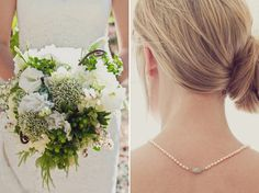Spring bouquet and pretty side up-do. | Wedding hair |