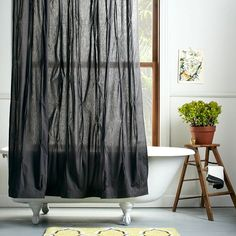 Breathtaking Modern Shower Curtain Finds For A Stylish Bathroom : Pleated Shower Curtain