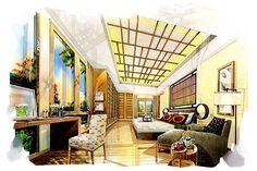 ideas for house interior illustration decor House Sketch Design, Interior Design Sketches, Interior Rendering, Interior Architecture, Design Art, Architecture Sketches, Landscape Architecture, Japanese Bedroom, Japanese Interior