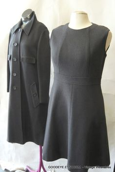 1960s Coat Dress 8 10 12 Military Mod Wool Knit ESTHER by GoodEye, $185.00