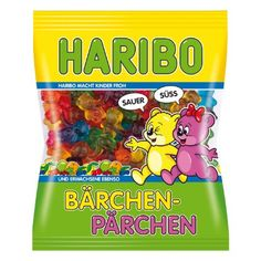 Haribo Baerchen Paerchen Sour and Sweet - NEW Sour lemon with sweet cherry, sour orange juice with sweet apple and sour currant along with sweet blueberry Candy Recipes, Gourmet Recipes, Snack Recipes, Chocolate Sticks, Melting Chocolate, Fini Tubes, Haribo Candy, Sour Gummy Bears, Sour Orange
