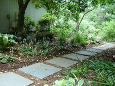 stone on mulch with slant