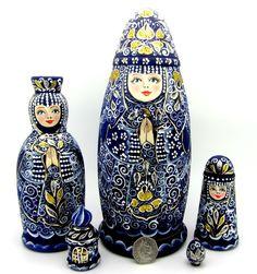 Genuine Russian HAND PAINTED nesting dolls BLUE GOLD Matryoshka 5 IVJENKO signed