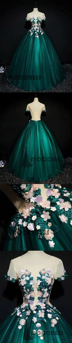 Flowers Long Prom Dresses Scoop Green Evening Dresses Ball Gowns,HS694  #fashion#promdress#eveningdress#promgowns#cocktaildress