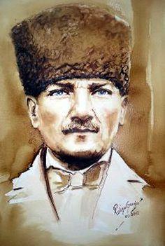 Watercolor, Potrait of Atatürk ,  founder of Turkey ,Painter Rukiye Garip