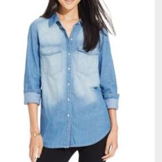 Chambray shirt Chambray button down shirt,oversized loose fit,super cute and comfy roll sleeves up or down Poly & esther from macys Tops