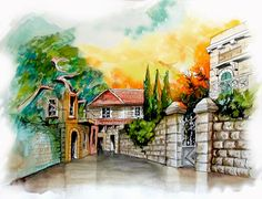 Jerusalem  - Abyssinian Street   Watercolor by Menahem Lavee
