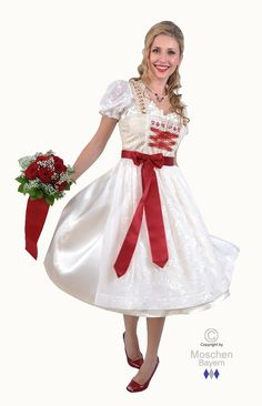 susse   Dirndl Creme/Rot - Couture
