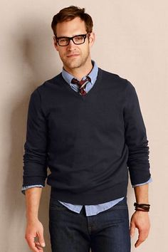 Street style tendance : Mens Fine Gauge V-neck Sweater from Lands End