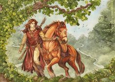 Maedhros enjoying a happy moment in-between wars, hunting in Ossiriand, the Land of Seven Rivers.
