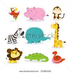 A cartoon vector illustration of nine various cute african jungle animals like parrot, hippopotamus, monkey, zebra, elephant, giraffe, lion, crocodile and snake.