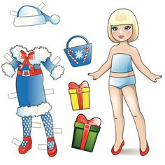 Paper doll. New Year collection. vector art illustration