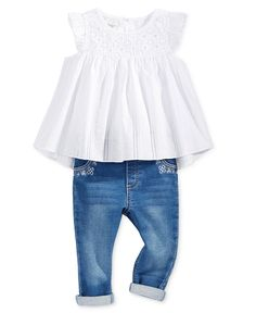 a76285fb0246 first impressions swiss dot tunic embroidered jeans    baby girl Baby Girl  Clothing
