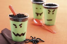 Scary Pudding Cups.  Kids can get creative/involved drawing different faces on their cups.