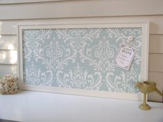 Bulletin Memo Board - Magnetic Organizer - Shabby Chic Framed Magnet Board with Robins Egg Blue Damask. $179.00, via Etsy.
