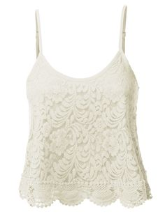 Womens Loose Floral Crochet Scalloped Cropped Tank Top (CLEARANCE)