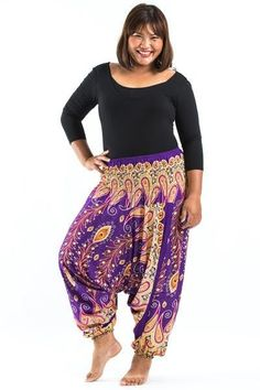 d07846bf82d1f Plus Size Peacock Paisley Drop Crotch Women s Harem Pants in Purple