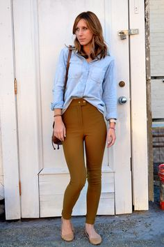 light blue chambray madewell shirt - dark khaki riding American Apparel pants