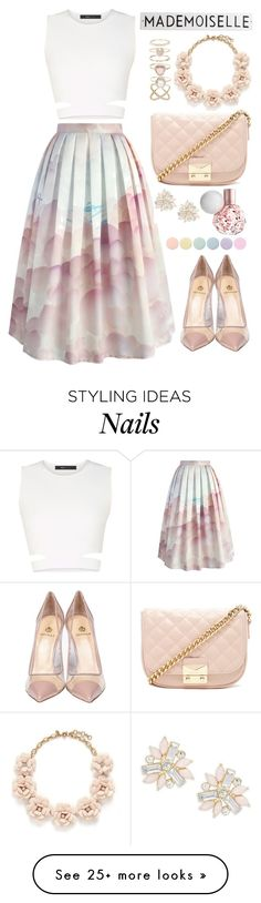 """Falling for you"" by samang on Polyvore featuring Chicwish, BCBGMAXAZRIA, Semilla, Forever 21, J.Crew, Accessorize, Cara, Deborah Lippmann and Rosanna"