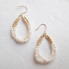 K14gf 淡水パール×ゴールドのダブルビッグドロップピアス - Holiday Jewelry